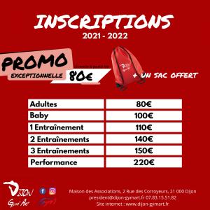 inscriptions club dijon gym art 2021 2022